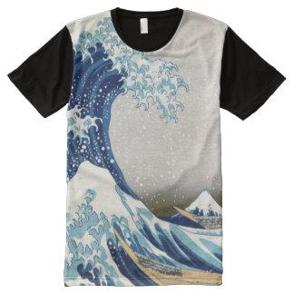 北斎 Great Wave Off Kanagawa Hokusai Fine Art All-Over Print T-Shirt
