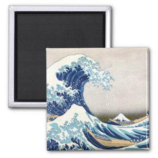 北斎 Great Wave Off Kanagawa Hokusai Fine Art Square Magnet