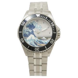 北斎 Great Wave Off Kanagawa Hokusai Fine Art Wrist Watch
