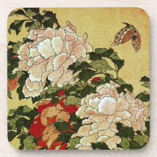 北斎 Hokusai Peonies & Butterflies Fine Art Coaster