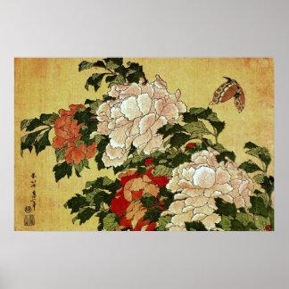 北斎 Hokusai Peonies & Butterflies Fine Art Poster