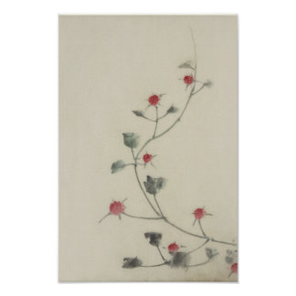 北斎 Red Blossoms on Vine Hokusai Fine Art Poster