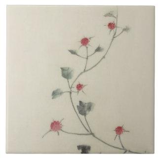北斎 Red Blossoms on Vine Hokusai Fine Art Tile