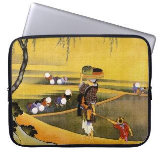 北斎 Rice Fields Hokusai Fine Art Laptop Sleeve