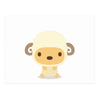 十二支 二頭身正面イラスト 羊 はがき