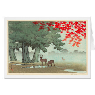 奈良公園の鹿, Deer of Nara Park, Hasui Kawase, Woodcut Card