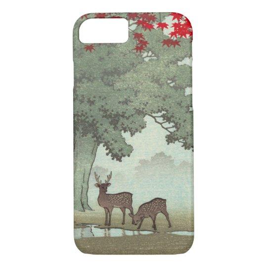 奈良公園の鹿, Deer of Nara Park, Hasui Kawase, Woodcut