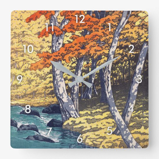 奥入瀬の秋, Autumn at Oirase, Hasui Kawase, Woodcut Square Wall Clock