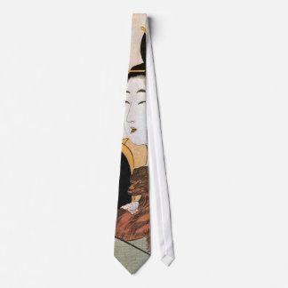 女と犬, 歌麿 Woman and Dog, Utamaro, Ukiyoe Tie