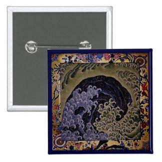 女浪 Feminine Wave 葛飾北斎 Hokusai 15 Cm Square Badge