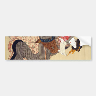 女, 国貞 Woman, Kunisada, Ukiyo-e Bumper Sticker