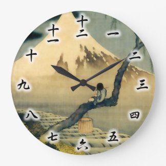 富士と少年, 北斎 Mount Fuji and Boy, Hokusai, Ukiyo-e Large Clock