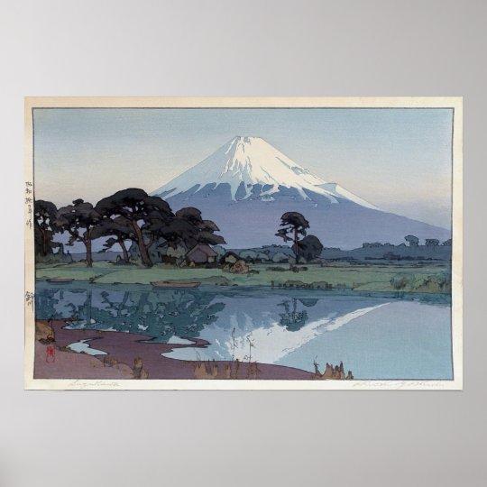 富士山 鈴川, Mt.Fuji, Suzukawa, Yoshida, Woodcut Poster