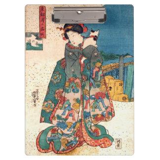 少女と猫, 国芳 Girl with Cat, Kuniyoshi, Ukiyo-e Clipboard