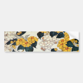 山吹, 北斎 Yellow Flower, Hokusai, Ukiyo-e Bumper Sticker