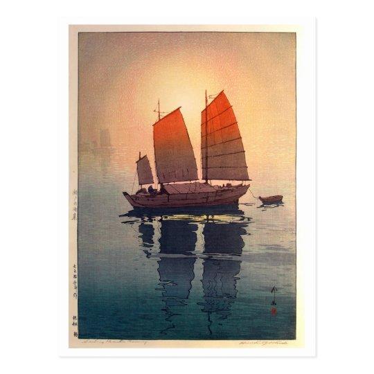 帆船 朝 Sailing Boats Morning, Hiroshi Yoshida Postcard