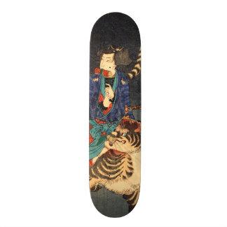 忍者と虎, 芳年 Ninja Hero & Tiger, Yoshitoshi, Ukiyo-e 18.1 Cm Old School Skateboard Deck