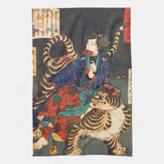 忍者と虎, 芳年 Ninja Hero & Tiger, Yoshitoshi, Ukiyo-e Tea Towel