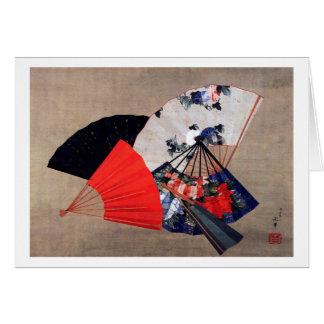 扇子, 北斎 Five Fans, Hokusai, Ukiyoe Greeting Card