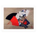 扇子, 北斎 Five Fans, Hokusai, Ukiyoe Postcard