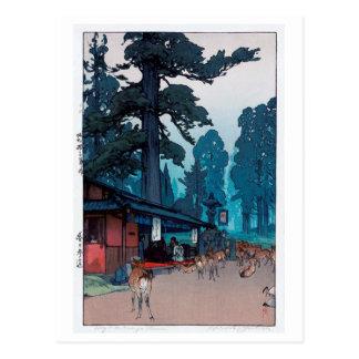 春日大社の鹿, Deer of Kasuga Shrine, Hiroshi Yoshida Postcard