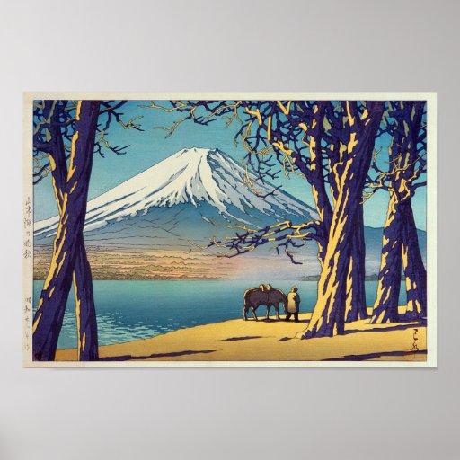 晩秋の富士山, Mt.Fuji in autumn, Hasui Kawase, Woodcut Poster