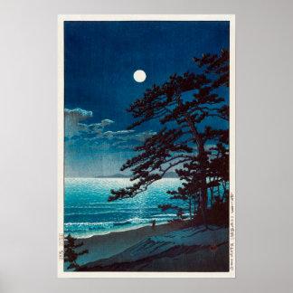 月の二宮海岸, 川瀬巴水 Moon at Ninomiya Beach, Hasui Kawase Poster