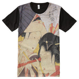望遠鏡を覗く女, 北斎 Girl with Telescope, Hokusai, Ukiyo-e All-Over Print T-Shirt