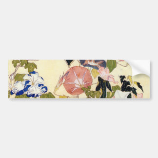 朝顔, 北斎 Morning Glory, Hokusai, Ukiyo-e Bumper Sticker