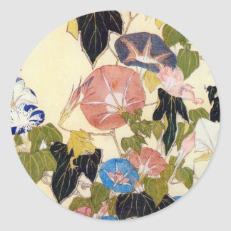 朝顔, 北斎 Morning Glory, Hokusai, Ukiyo-e Classic Round Sticker