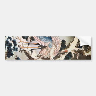 松に鶴, 北斎 Cranes on Pine Tree, Hokusai, Ukiyo-e Bumper Sticker