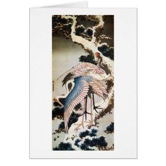 松に鶴, 北斎 Cranes on Pine Tree, Hokusai, Ukiyo-e Card