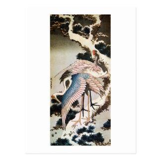 松に鶴, 北斎 Cranes on Pine Tree, Hokusai, Ukiyo-e Postcard