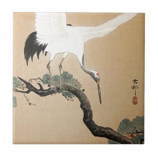 松に鶴, 古邨 Crane on Pine Tree, Koson, Ukiyo-e Tile