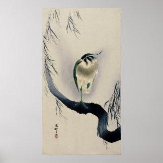 柳にタゲリ, 古邨 Northern lapwing on Willow branch, Koson Poster