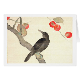 柿に烏, 抱一 Persimmon and Crow, Hōitsu Card