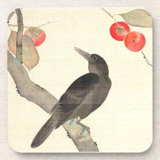 柿に烏, 抱一 Persimmon and Crow, Hōitsu Coaster