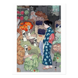 根津の八百屋, Greengrocer in Nezu, Yoshida, Woodcut Postcard