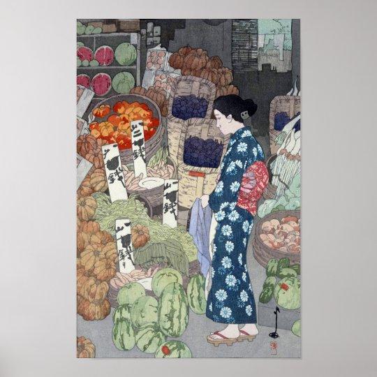 根津の八百屋, Greengrocer in Nezu, Yoshida, Woodcut Poster
