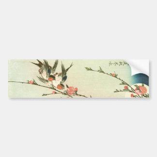 桃の花に燕, 広重 Peach Blossom and Swallow, Hiroshige Bumper Sticker