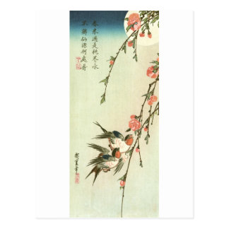 桃の花に燕, 広重 Peach Blossom and Swallow, Hiroshige Postcard