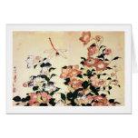 桔梗, 北斎 Bellflower and Dragonfly, Hokusai, Ukiyoe