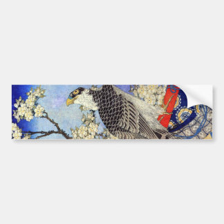 桜にハヤブサ, Falcon & Cherry Blossoms, Hokusai, Ukiyo-e Bumper Sticker