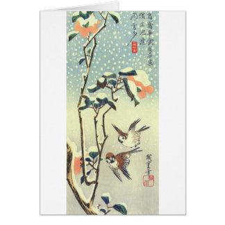 椿に雀, 広重 Camellia and Sparrow, Hiroshige, Ukiyo-e Card