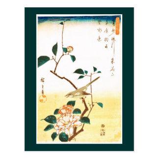 歌川広重 Camellia and Bush Warbler, Hiroshige Postcards