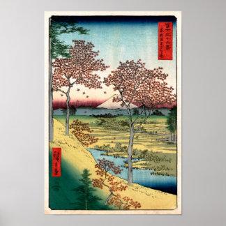歌川広重 Sunset Hill Meguro Utagawa Hiroshige Print
