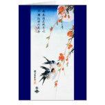 歌川広重 Swallows and Peach Blossoms, Hiroshige Greeting Card