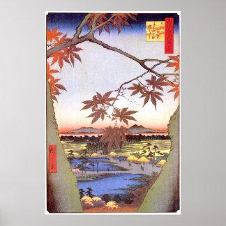 江戸の紅葉, 広重 Maple of Edo, Hiroshige, Ukiyo-e Poster