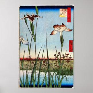 江戸の菖蒲, 広重 Iris of Edo, Hiroshige Poster
