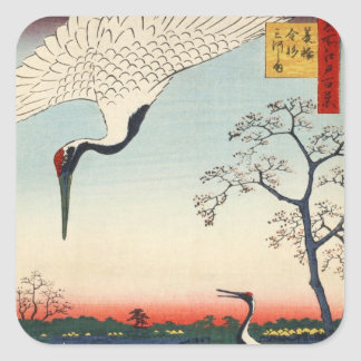 江戸の鶴, 広重 Crane of Edo, Hiroshige Square Sticker